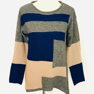 Baciano Long Sleeve Color Block Roll Neck Sweater